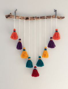 Bohemian tapestry tassel mobile made to order to measure . - Bohemian tapestry tassel mobile made to order made hanging - Diy Para A Casa, Vitrine Design, Bohemian Tapestry, Dark Bohemian, French Bohemian, Modern Bohemian, Crafts For Teens To Make, Kids Diy, Dollar Store Crafts
