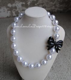 Black Bow and Pearl Bubblegum Necklace Photo by LauraLeeDesigns108, $14.99
