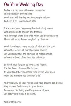On your wedding day- reading for service.... REALLY like this one.