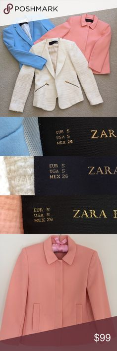 "3 Zara Blazers 3 Zara blazers in excellent, almost like new condition. There's a sky blue one with padded shoulders and a single button in the front. Then a creamy white tweed one with zippers on the lower arms and the double pockets. The third is a pastel coral color with a button up front and the buttons are discreetly concealed. Each usually retails for 68-89$ each - they are in excellent condition, they turned out to be too ""vibrant"" for my work place so I never got to wear them :( these…"