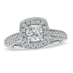 Style 18634899, Vera Wang LOVE 2 CT. T.W. cushion-cut diamond frame engagement ring in 14K white gold, $9,999.99, Zales  See more cushion-cut engagement rings.