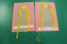 Fairy Tale Fun: Rapunzel Craft & Measuring Activity by wanda Daycare Crafts, Classroom Crafts, Preschool Crafts, Classroom Ideas, Fairy Tale Crafts, Fairy Tale Theme, Rapunzel, Fairy Tale Activities, Nursery Rhymes Preschool
