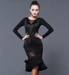 37237a832add Details about New Dancewear Tassels Latin Dance Performance Dress Rumba  Samba Cha Cha Ballroom