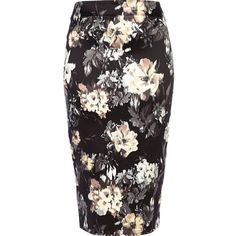 River Island Black blurred floral print pencil skirt ($15) ❤ liked on Polyvore featuring skirts, sale, floral print skirt, floral skirts, river island, floral printed skirt and floral knee length skirt