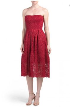 VERA WANG Womens Strapless All Over Lace Red Sleeveless Cocktail Party Dress NWT    eBay