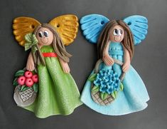 To Make Fridge Magnet Gift Ideas Fridge Magnet Ideas Free Printables Product Fimo Clay, Polymer Clay Crafts, Paper Clay, Clay Art, Clay Angel, Christmas Art, Christmas Ornaments, Salt Dough Ornaments, Clay Dolls