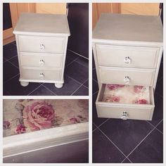 Up cycled pine bedside table draws, painted in French linen and coated with artisan peal plaster, sinister off with floral découpage inside the draws and crystal handles.