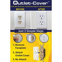 Now that you have repainted, update your outlet color using our Outlet Covers in 3 easy steps: Step 1: Turn off power Step 2: Remove wall plate and add cover Step 3: Reinstall wall plate. #homeimprovement #homeupdates #homerenovation #homemakeover #outletcover #outlet #poweroutlet #powersocket #electrician #housegoals #homedecor