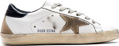 Still thinking of getting a pair... Golden Goose White & Navy Distressed Superstar Sneakers