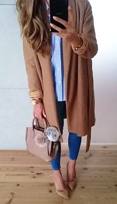 #fall #fashion ·  Camel Trench + Leather Tote + Pumps