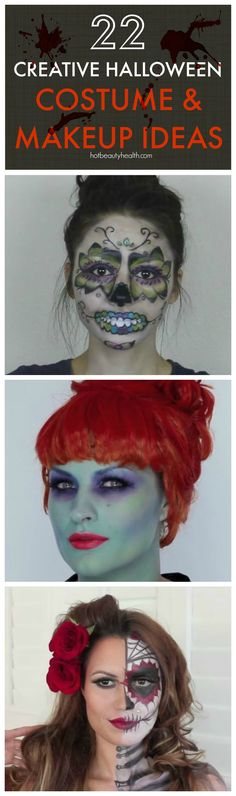 22 Creative DIY Halloween Costumes & Makeup Ideas - Click through for full tutorial & videos.