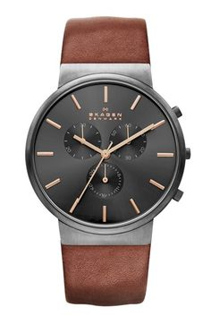 Free shipping and returns on Skagen Chronograph Leather Strap Watch, 40mm at Nordstrom.com. A handsome three-eye chronograph dial crowns the finely pebbled leather strap of this keepsake-worthy timepiece.