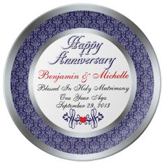 Personalized 1st Anniversary Porcelain Plate