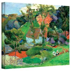 Paul Gauguin 'Landscape at Pont Aven' gallery-wrapped canvas is a high-quality canvas print of the landscape that gave its name to the Pont Aven School of posty-Impressionist artists. It relies on a n