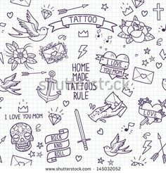 Old school tattoo seamless pattern. Cartoon vector tattoo elements in funny style:anchor, dagger, skull, flower, star, heart, diamond, scull and swallow.  Doodle in exercise book style