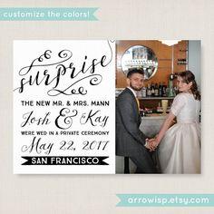 Elopement Announcement Elegant Wedding By Arrowisp