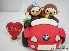 Happy Monkey Love Wedding Cake Topper with Sweet Convertible Car(Custom Order) -- NEW