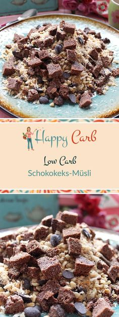 Mit dem Low Carb Schokokeks-Müsli geht der Tag lecker los. Low Carb Rezepte von Happy Carb. https://happycarb.de/rezepte/fruehstueck/low-carb-schokokeks-muesli/