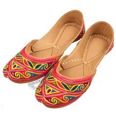The MULTI RESHAM EMBROIDERY WORK KHUSSA MOJARI JUTTI   by Indiatrend. Shop Now at WWW.INDIATRENDSHOP.COM