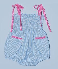 Light Blue Stripe Shirred Bubble Bodysuit - Infant by Cotton Blu & Cotton Pink #zulily #zulilyfinds