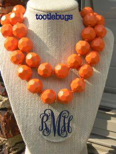 Gift ideas. Personalized Monogram Bead Necklace Alabama Auburn Georgia on Etsy, $30.00