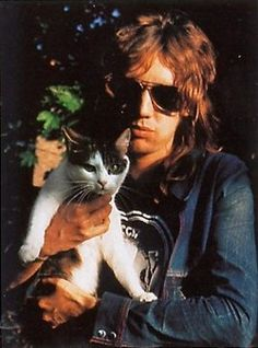 Roger Taylor (Queen) and cat.