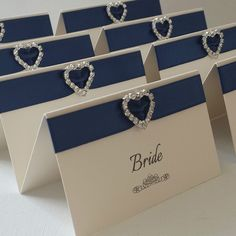 IVORY & NAVY PERSONALISED HEART DIAMANTE WEDDING RECEPTION NAME PLACE CARDS