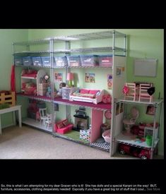 "What a clever use of metal shelving for a American Girl 18"" Doll doll house, storage unit."