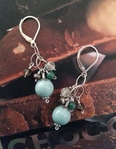 Chocolate Mint Long Cluster Earrings by DonnaSauersDesigns. $54