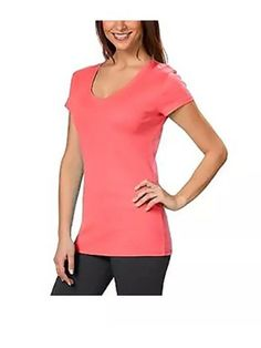 d3a5e64a8db Kirkland Signature Women s Large Shirt Tee Short Sleeve Pink V Neck  fashion   clothing
