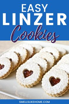 Linzer Cookies (with VIDEO!) - Smells Like Home Easy Cookie Recipes, Easy Desserts, Sweet Recipes, Delicious Desserts, Dessert Recipes, Bar Recipes, Cookie Ideas, Jelly Cookies, Linzer Cookies