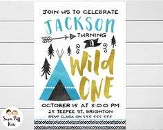 Watercolor Wild One Birthday Invitation, Wild One 1st Birthday Invitation for boy, Wild One birthday Party Invitation, Wild One Invite by SugarPuffKids on Etsy