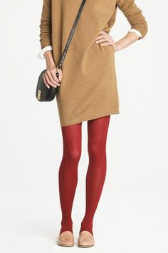 Red tights that make an impact without looking childish. Got the khaki baggy dress, crossover bag and oxfords. Pantyhose Fashion, Fashion Tights, Stylish Outfits, Cool Outfits, Stylish Clothes, Baggy Dresses, Pantyhose Lovers, Colored Tights, Long Sweaters