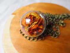 Marigold necklace real flower necklace terrarium by LisaDecorGifts