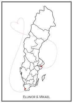 Kärlekskarta. Sverige. Map. City print. Print. Affisch. Tavla. Tryck. Stadskarta. Love.