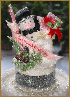 """""""Fancy Hat"""" Snowman Couple Image"""