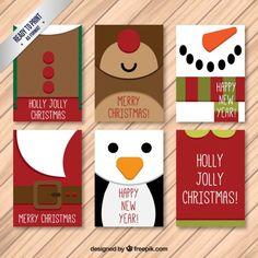 Colección de tarjetas navideñas de simpáticos personajes de navidad  Vector Gratis