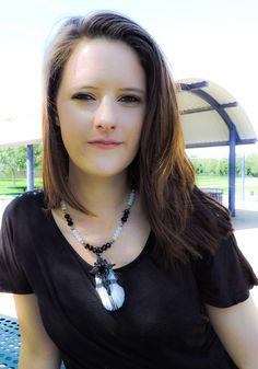 Black filigree feather cross necklace by KConklinJewelry on Etsy