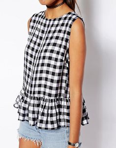 ASOS sleeveless peplum top in gingham