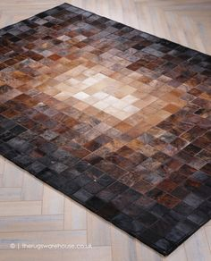 Super Nova Rug, a luxurious natural cowhide leather leather rug in shades of brown & black, made by Cow Rug, Cow Hide Rug, Leather Wall, Cowhide Leather, Living Room Carpet, Rugs In Living Room, Recycled Leather, Modern Rugs, Modern Carpet