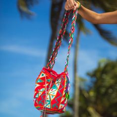 Bucket Bag Medium Wayuu Summer Bag Yellow Crossbody Bag Handmade Casual Handbag Boho Hippie Bag Drawstring Bag Cotton Bag Crochet bag