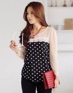 Korean lace stitching Polka Dot Blouse