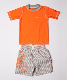 Look at this Orange Rashguard & Crab Board Shorts - Infant, Toddler & Boys on #zulily today!