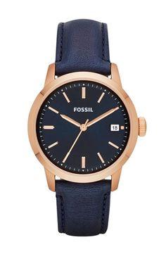 navy & rose gold watch.