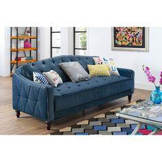9 By Novogratz Vintage Tufted Sofa Sleeper II, Navy Velour Canu0027t Believe The