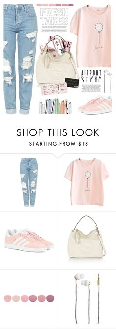 """""""Airport style"""" by jan31 ❤ liked on Polyvore featuring Topshop, adidas Originals, Gucci, Christian Dior, Deborah Lippmann, Kreafunk, travel, airport and airportstyle"""