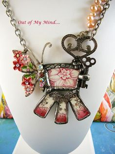 Butterfly in My Garden ~ Out of My Mind Collage Necklace from outofmymind on Ruby Lane