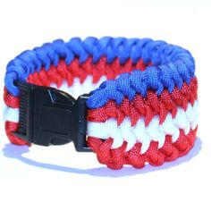 Bars Bracelet - Men's bracelet - Gift idea for Him - Parachute cord - blue, red and white. - Military armband - Men's jewerly - Survival http://etsy.me/2EJ12ua #jewelry #bracelet #red #birthday #independenceday #france  #usa #soldier