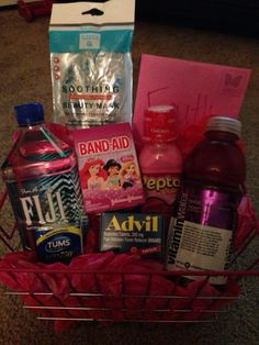 Hangover basket for the day after 21st birthdays, bachelorette parties, etc.