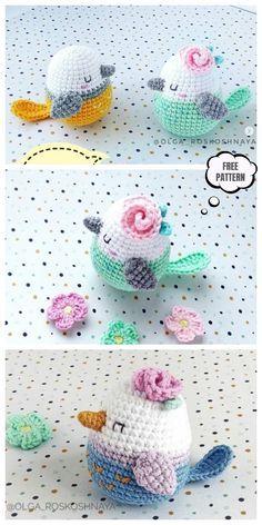 Crochet amigurumi 836614068258921137 - Crochet Spring Bird Amigurumi Free Pattern Source by moniquepeinture Tutorial Amigurumi, Amigurumi Free, Crochet Patterns Amigurumi, Crochet Dolls, Knitting Patterns, Crochet Bird Patterns, Afghan Patterns, Crochet Birds, Easter Crochet